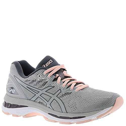 ASICS Women's Gel-Nimbus 20 Running Shoes Mid Grey/Mid Grey/Seashell Pink (Tennis Asics Woman Shoes)