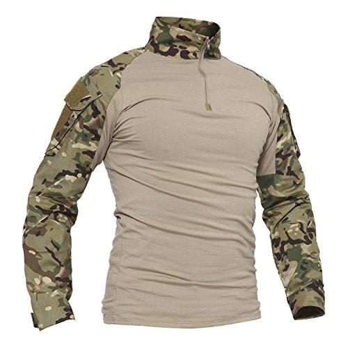 TACVASEN Slim Fit Herren Baumwollhemd Outdoor Military T-Shirt mit Tasche