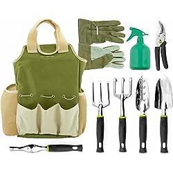 Vremi 9 Piece Garden Tools Set   Gardening Tools With Garden Gloves And  Garden Tote