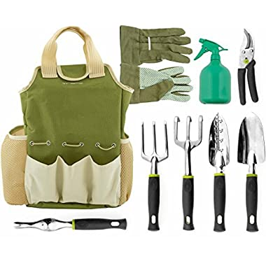 Vremi 9 Piece Garden Tools Set with 6 Ergonomic Gardening Tools, includes Digger, Weeder, Rake, Trowel, Pruners, Transplanter, Garden Tote Bag, 25oz Sprayer Bottle and Gloves