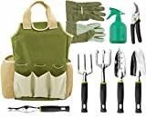 Vremi 9 Piece Garden Tool Set with Gardening Tote and Work Gloves - Hand Tools with Ergonomic Handles include Rake and Pruning Shears - also has Weeder and Transplanter and 25 Oz Sprayer Bottle (Lawn & Patio)