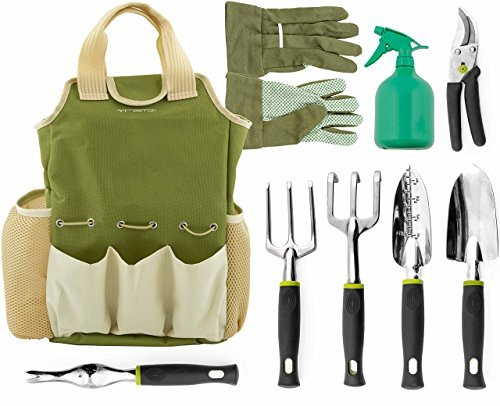 Vremi 9 Piece Garden Tool Set with Gardening Tote and Work Gloves - Hand Tools with Ergonomic Handles include Rake and Pruning Shears - also has Weeder and Transplanter and 25 Oz Sprayer Bottle