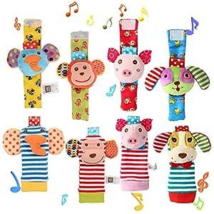 Twister.CK Paquet de 4 Paires de Chaussettes pour hochet et Poignet, Adorable Animal, hochet de bébé, hochets, Ensemble…