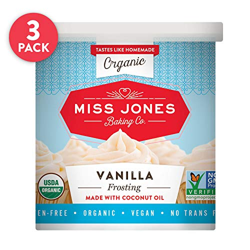 Organic Icing - Miss Jones Baking Organic Buttercream Frosting, Perfect for Icing and Decorating, Vegan-Friendly: Vanilla (Pack of 3)