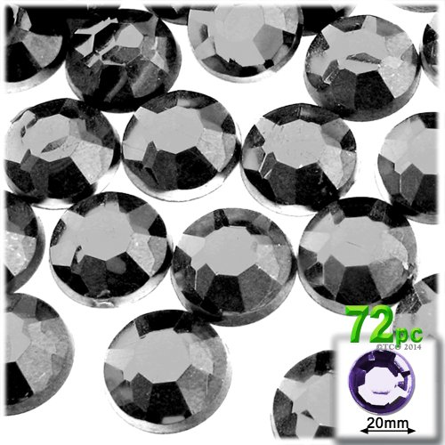 The Crafts Outlet 72-Piece Flatback Acrylic Round Rhinestones, 20mm, Charcoal Gray