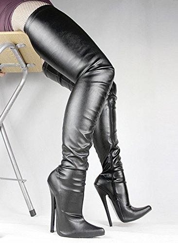 Wonderheel stiletto heel matt leder fetisch over-knee crotch stiefel