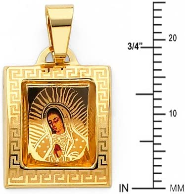 GoldenMine 14k Tri Color Gold CZ Guadalupe Pendant Size : 15 x 19 mm