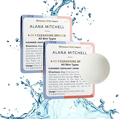 Travel Size Foaming Facial Cleanser Sponge - Use As Face Wash and Mask to Exfoliate and Brighten Skin - 4-in-1 Product For All Skin Types Inspired By Korean Beauty (2 Pack 5-10 uses)