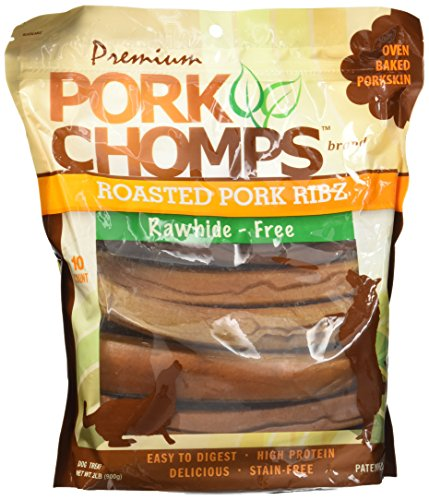 Pork Rawhide - Premium Pork Chomps Roasted Ribz Pork 10Ct