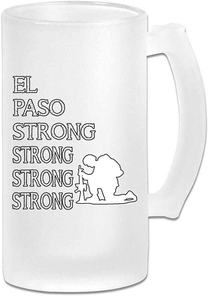 El Paso Cristalería Fuerte Para Barras Impreso 16.9 Oz Copa de Jarra de Cerveza Esmerilada con Asas Vaso de Jugo de Bebidas