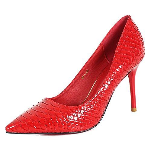 KHSKX-Zapatos De Tacon Fino Otoño De Nuevo Sharp Zapatos Moda Y Fina Boca Superficial Único Zapato Mujer Rojo gules