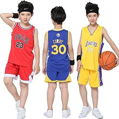 DEBND Niño Ropa de Baloncesto NBA Lakers Kobe Bryant #24&Bulls 23# Michael Jordan&Warriors 30 Curry Retro Pantalones Cortos de Baloncesto Camisetas ...