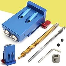 Mini Pocket Hole Jig Kit Style w/ Step Drilling Bit Woodwork Joint Tool Set, Blue