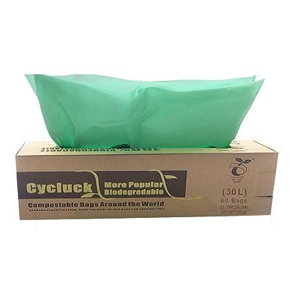 CYCLUCK 60 Bolsas 30L Bolsa de Basura ecológica 100 ...