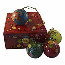 Unicef Handcrafted Keepsake Box with 4 Paper Mache Ornaments Easter Christmas