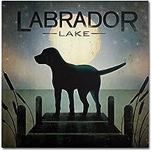 Moonrise Black Dog Labrador Lake by Ryan Fowler Wall Decor, 35 by 35-Inch Canvas Wall Art