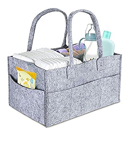 DollyBoba Baby Diaper Caddy | Nursery Diaper Tote Bag | Large Portable Car Travel Organizer | Boy Girl Diaper Storage Bin for Changing Table | Baby Shower Gift Basket | Newborn Registry Must (Sensitive Baby Basket)