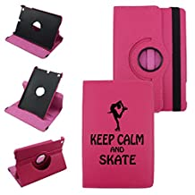 Keep Calm And Skate 2 On IPad Mini 4 Leather Rotating Case 360 Degrees Multi-angle Vertical and Horizontal Stand with Strap (Hot Pink)