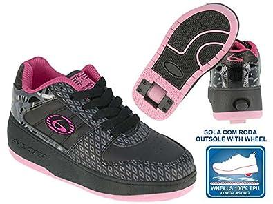Beppi 2150831 - Zapatillas con Ruedas para niña, Color Negro/Fucsia, Talla 33: Amazon.es: Zapatos y complementos