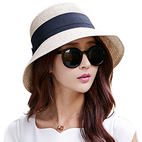 Siggi Womens Floppy Summer Sun Beach Straw Hats Accessories Wide Brim Foldable Beige 57cm (56-57.5cm 22