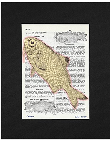 Hand Vintage Signed (Ombura Scales - Limited Edition, Hand Signed, Upcycled Vintage Dictionary Fish Art Print - 7.25 x 9.75 - Beautifully Matted and Ready To Frame)