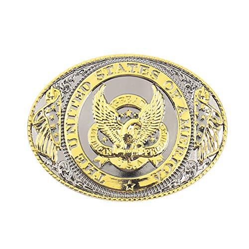 Gold Plated Eagle Belt Buckle -Rodeo Texas Cowboy Western Patriotic Eagle Belt Buckles for men women kids- New Design -