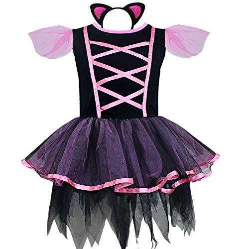 Agoky Kids Girls Halloween Easter Kitty Cat Animal Cosplay Costumes Tutu Dress with Headband Black -