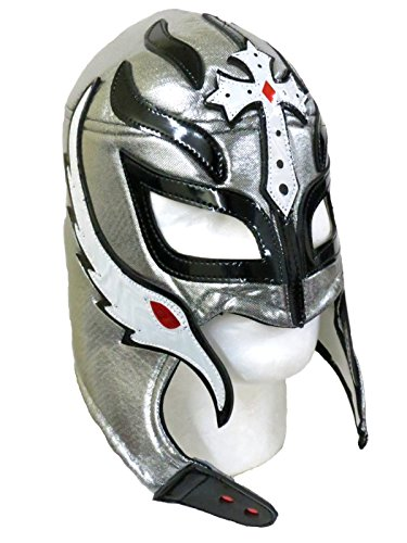 [Rey Mysterio Adult Lucha Libre Wrestling Mask (Pro-fit) Costume Wear - Silver Black] (Wwe Wrestling Costumes For Adults)