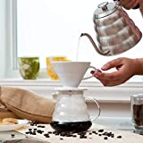 Kajava Mama Pour Over Coffee Dripper - Ceramic Slow Brewing Accessories for Home, Cafe, Restaurants - Easy Manual Brew Maker Gift - Strong Flavor Brewer - V01 Paper Cone Filters - White, 1 Cup