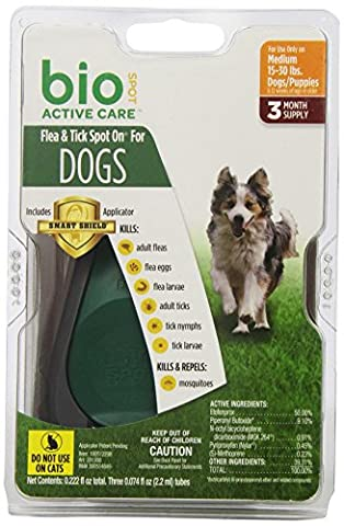 Bio Spot Active Care Flea & Tick Spot On With Applicator for Medium Dogs (15-30 lbs.) 3 Month (Dog Flea Heartworm)