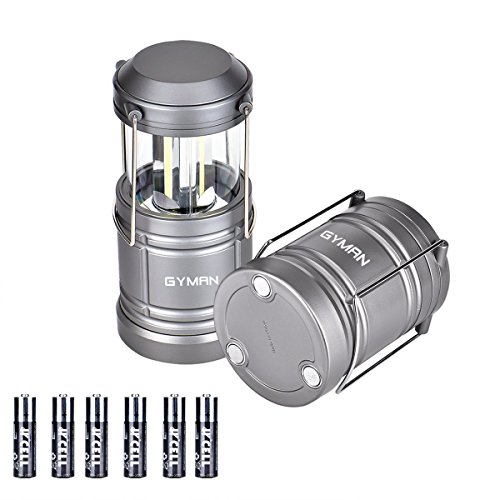 GYMAN Camping Lantern Flashlights LED Portable Lamp Survival Kit With 6 AA Batteries for Emergency, Hurricane, Outage (Collapsible), 2 Piece
