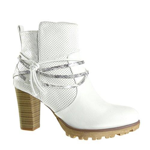 Angkorly - Chaussure Mode Bottine cavalier effet vieilli plateforme femme peau de serpent perforée lanière Talon haut bloc 8 CM - Blanc
