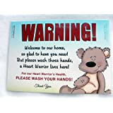 "CHD Awareness Heart Warrior Sign, 5"" x 7"" Laminated Wash Your Hands Sign by Cold Snap Studio - More Than I Can Bear - HANDMADE in the USA!"
