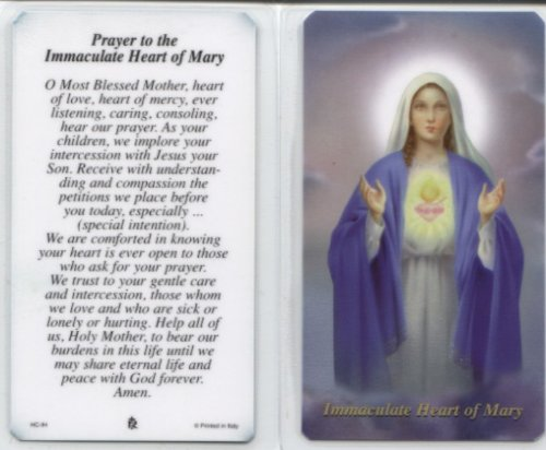 Prayer to the Immaculate Heart of Mary , Package of 100 Paper Holy Cards, with Prayer on Reverse Side. Size Approximately 2