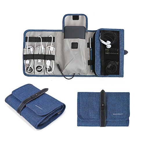 BAGSMART Compact Travel Cable Organizer Portable Electronics Accessories Bag Hard Drive Case for Various USB, Phone, Charger, Blue