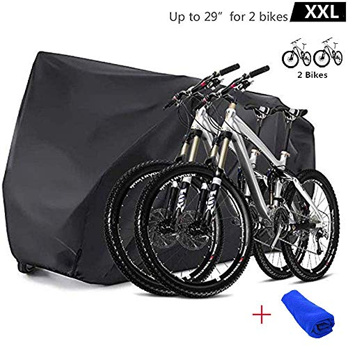 - Bicycle Bike Cover Waterproof Outdoor for 2 Bikes Heavy Duty 210D Oxford XXL Wheel Rain Cover with Resist Strong Winds Easy Fold Carry Around Cycling Covers for Mountain/Road/Electric Bike (Type B)