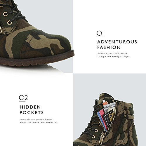 Pocket Bootie Lace Camouflage High Canvas Ankle DailyShoes Card Exclusive Women's Credit Boots Buckle Quilted Up Military Combat E6wwOnZqF8