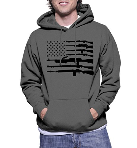 HAASE UNLIMITED Men's Black Gun American Flag Hoodie Sweatshirt (Charcoal, Large)