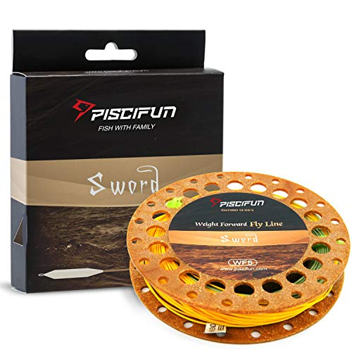 Piscifun Sword Weight Forward Floating Fly Fishing Line with Welded Loop WF7wt 100FT Moss Green & Yellow