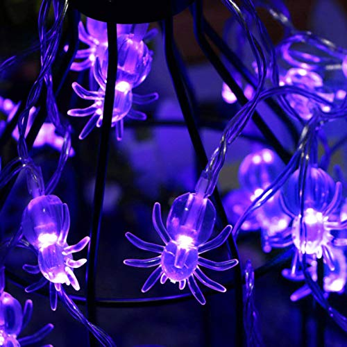 AOSTAR Battery Operated Halloween Spider Fairy Lights with 20 Purple LEDs for Halloween Decorations