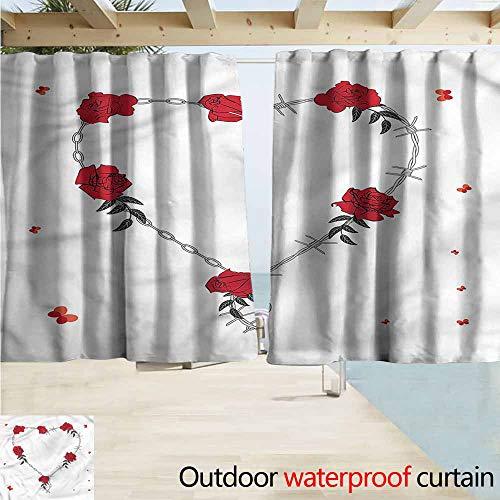 - MaryMunger Sliding Door Curtain Barbed Wire Valentines Day Theme Energy Efficient, Darkening W72x72L Inches