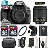 Holiday Saving Bundle for D3300 DSLR Camera + AF-P 18-55mm + 64GB Class 10 Memory Card + 2yr Extended Warranty + 32GB Class 10 Memory Card + Backup Battery + Case + Tulip - International Version