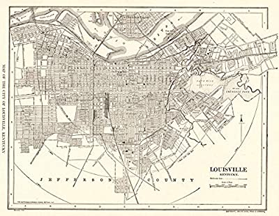 1927 Antique Louisville Map Original Vintage Map of Louisville Kentucky Not a Reprint Home Office Decor Black and White Gallery Wall Art #1227