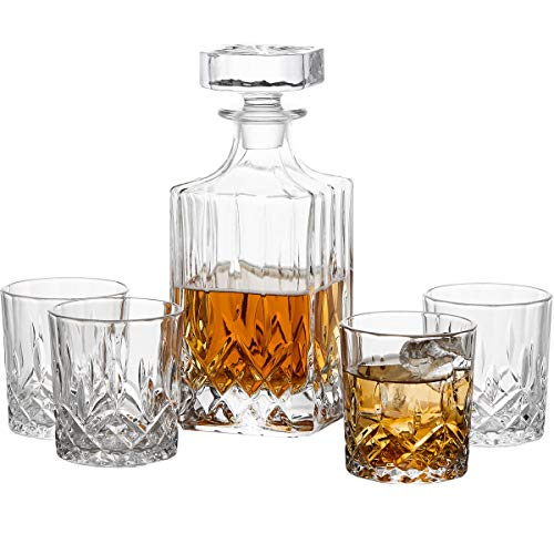 GoodGlassware Whiskey Decanter and Glasses (5 Piece Set) - Elegant Liquor Carafe with Ornate Solid Glass Stopper and 4 Matching Whisky Tumblers - Lead-Free and Dishwasher Safe