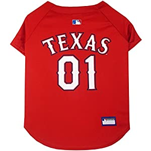 Pets First MLB TEXAS RANGERS Dog Jersey, Medium. - Pro Team Color Baseball Outfit