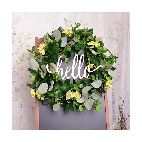 FAVOWREATH 2018 Vitality Series FAVO-W158 Handmade 16 inch Hello Letter,Grass,Laurel/Eucalyptus Leaf,Grapevine Wreath for Fall Front Door/Wall/Fireplace Floral Hanger Home Every Day Decor