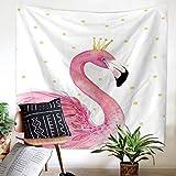 Roslynwood Tapestry Wall Hanging Pink Flamingo Hippie Beach India Art Cool Bohemian Blanket