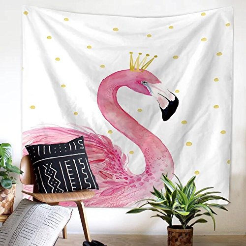 - Roslynwood Tapestry Wall Hanging Pink Flamingo Hippie Beach India Art Cool Bohemian Blanket