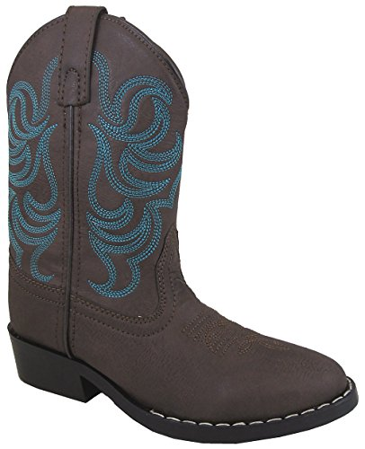 - Smoky Mountain Boys Brown with Blue Stitch Monterey Western Cowboy Boots Size 1.5 Kids
