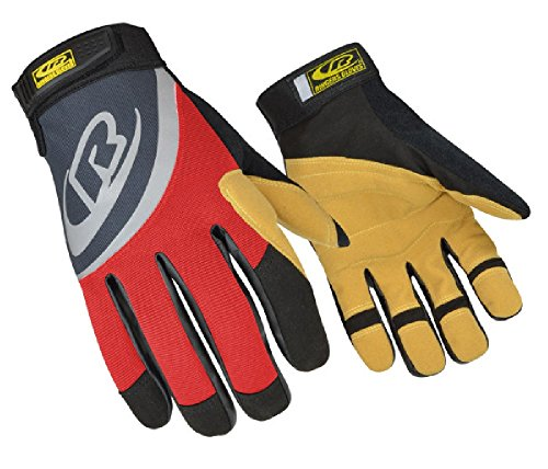 Ringers Gloves R-355 Rope Rescue, Red, Palm and Finger Protection, Synthetic Leather Palm, Medium (International Ringer)